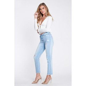Women's Relaxed Distressed Blue Skinny Jeans